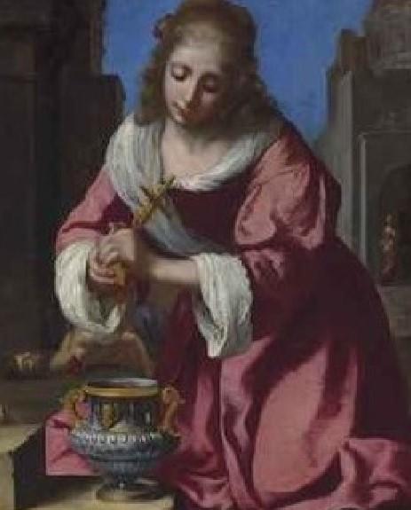 Johannes Vermeer (Delft 1632-1675), Santa Prassede,  firmato e datato 'Meer 1655' (in basso a sinistra), olio su tela, 101.6 x 82 cm.