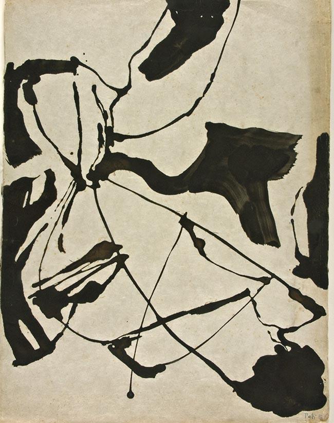 Toti Scialoja, Senza titolo, 1956 tempera su carta giapponese, mm 670x510 Galleria civica di Modena