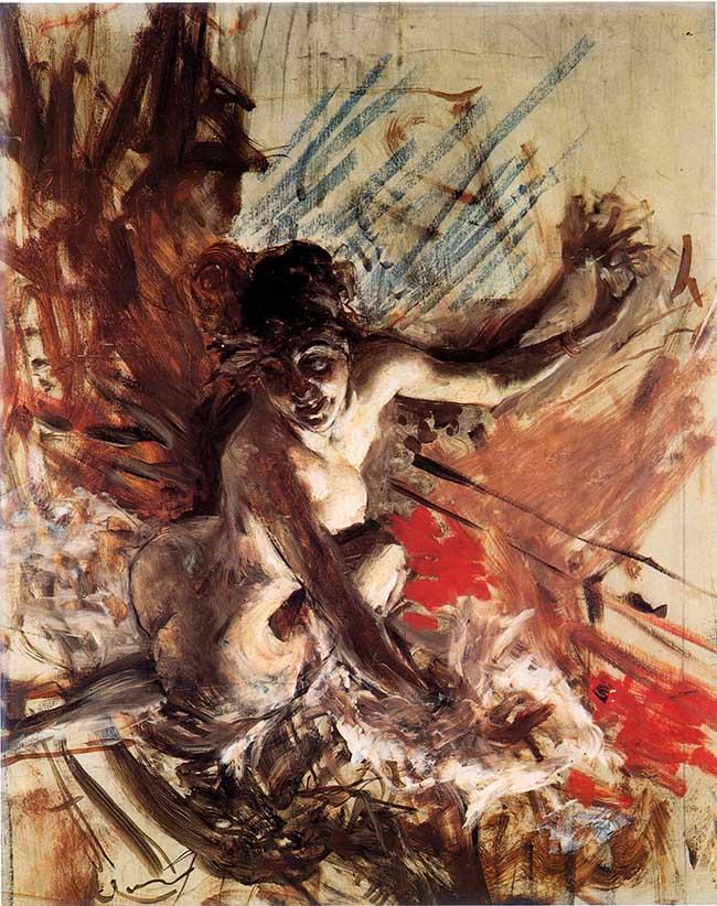 Giovanni Boldini M.me de Joss (Donna vicino al fuoco), 1905 circa Olio su tavola, 75 x 60 cm