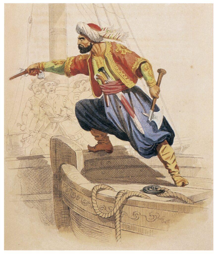 Il corsaro Dragut Reis (Arch. fotogr. Giancarlo Costa - Milano). Dragut viene, tra l'altro citato, in un'opera del compositore barocco spagnolo Luis Gongora