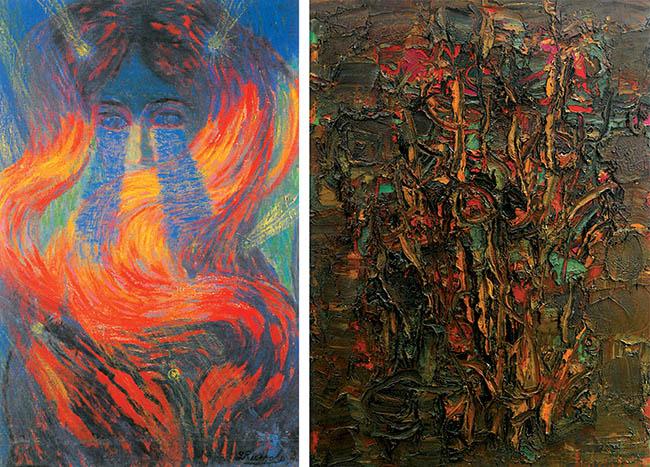 Luigi Russolo, Chioma (I capelli di Tina). A lato: Ennio Morlotti, Autunno, 1958, Parma, Collezione Barilla d'Arte Moderna