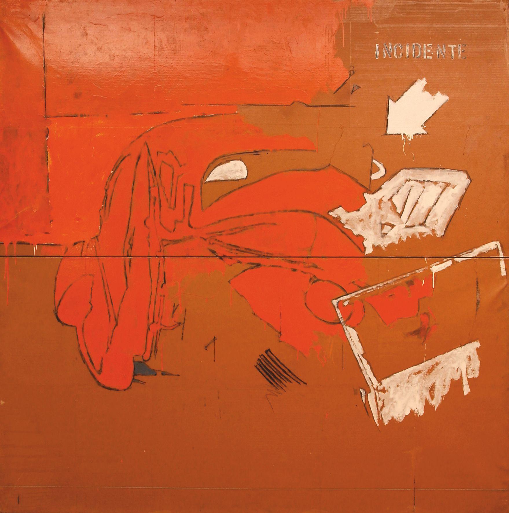 Mario-Schifano, Incidente, 1963,-smalto, pastello-e-cera-su-cartoncino-intelato-cm.-200-x-200, Collezione-Casa-di-Cultura-Goffredo-Parise, Ponte-di-Piave