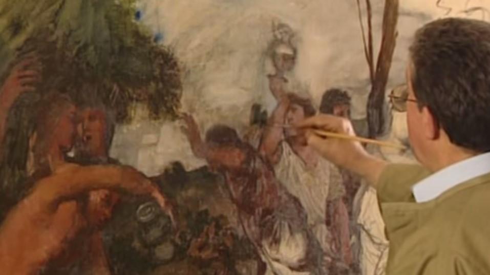 La stesura e il perfezionamento del dipinto, copia di un'opera di Tiziano Vecellio