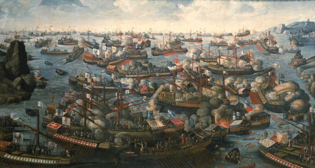 La battaglia di Lepanto, 1571, scontro aperto tra le forze cristiane e quelle musulmane