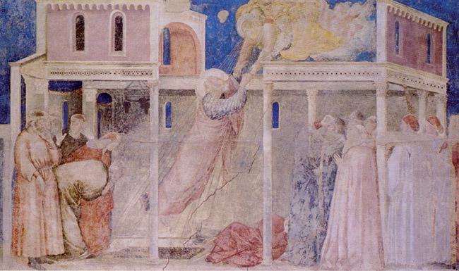 """Giotto, L'ascensione di san Giovanni, Firenze, Santa Croce, cappella Peruzzi. """"Ma guardate quel tizio grasso! - esclamò mr Emerson. - Deve pesare quanto me, eppure vola dritto verso il cielo come una mongolfiera!"""""""