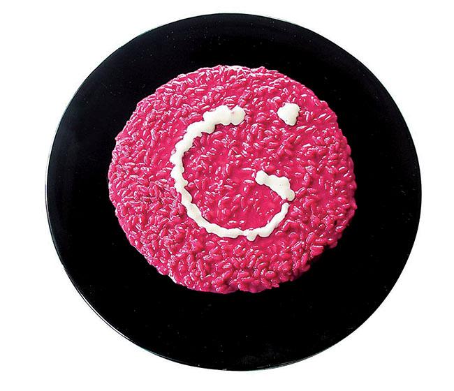 Una creazione di Gualtiero Marchesi per la rubrica Art food, pubblicata da Stile. Il piatti si ispira a un'opera  Miró