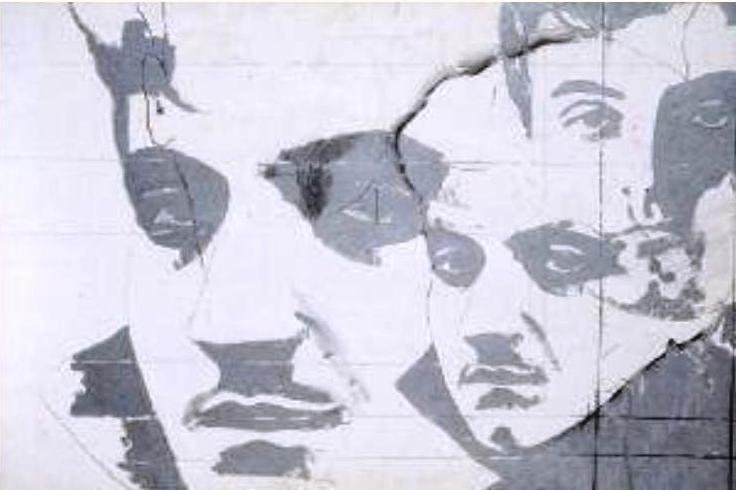 Giosetta Fioroni, Ritratto di Goffredo Parise, 1966, tecnica mista su tela, cm 50x70