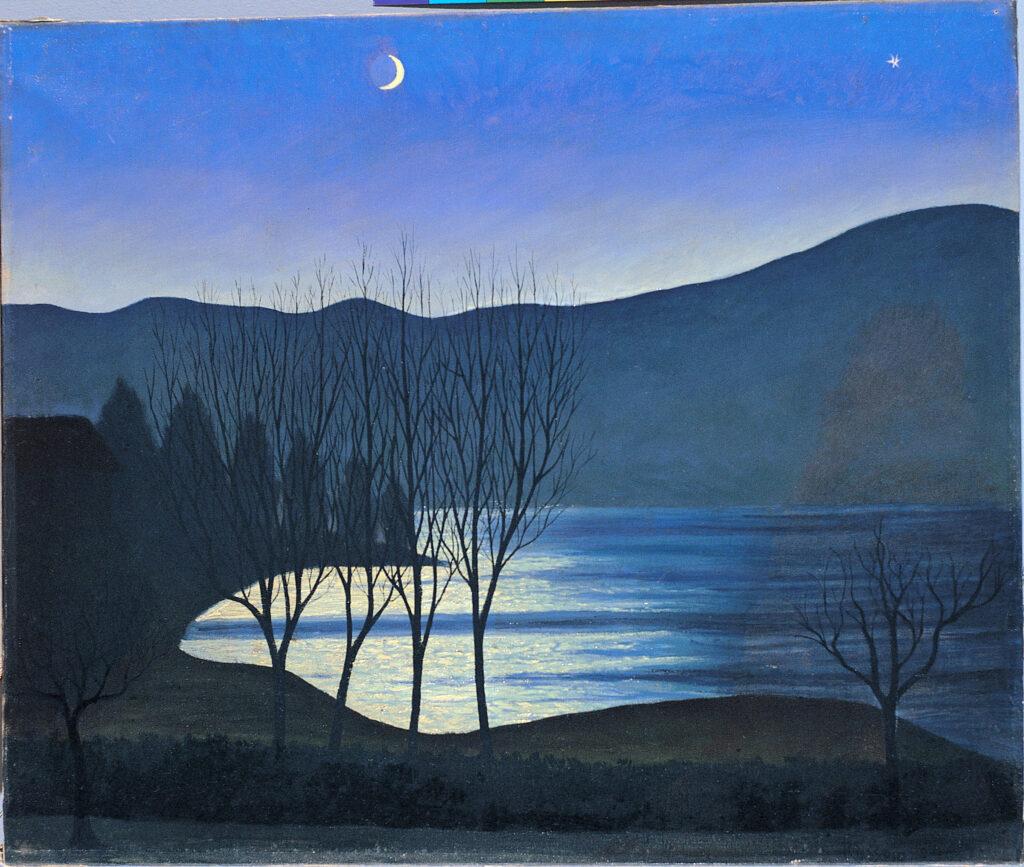 Luigi Russolo, Paesaggio romantico, 1944, olio su tela, Collezione privata