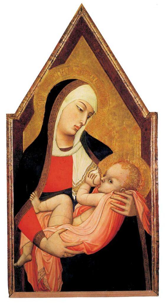 Ambrogio Lorenzetti, Madonna del latte. Da notare che gli occhi della Vergine sono a mandorla, mentre quelli del Bimbo sono tondeggianti, a conferma che l'occhio lungo era considerato nella cultura gotica una virtù estetica prevalentemente femminile