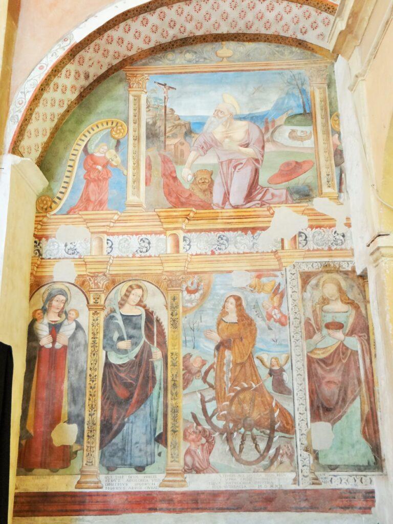 San Girolamo, Santa Liberata da Como, Sant'Apollonia, Santa Caterina d'Alessandria, Santa Lucia, 1522, affresco, Verolanuova (Brescia), Chiesa della Disciplina