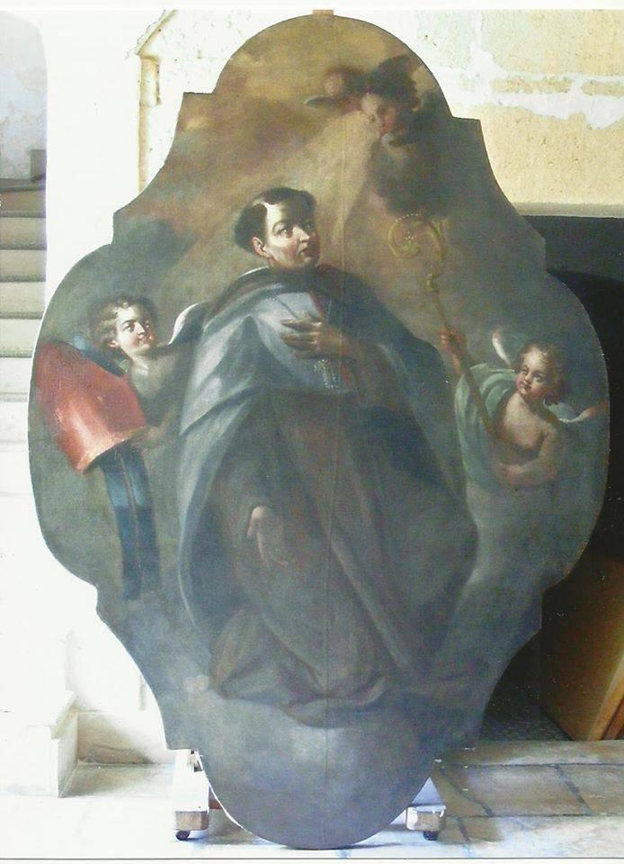 Il dipinto che raffigura Sant'Angelo, dopo l'intervento di restauro