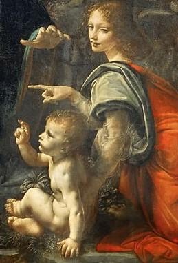 Leonardo da Vinci, Vergine delle rocce, 1483-1486, (particolare), olio su tavola trasportato su tela, 199x122 cm., Parigi, Museo del Louvre