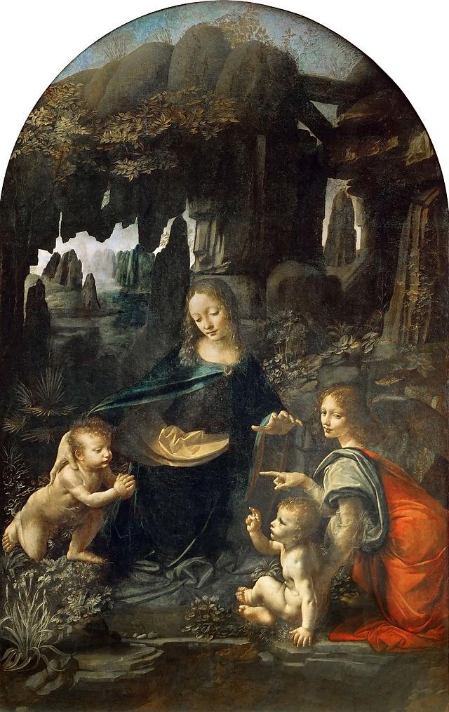 Leonardo da Vinci, Vergine delle rocce, 1483-1486, olio su tavola trasportato su tela, 199x122 cm., Parigi, Museo del Louvre