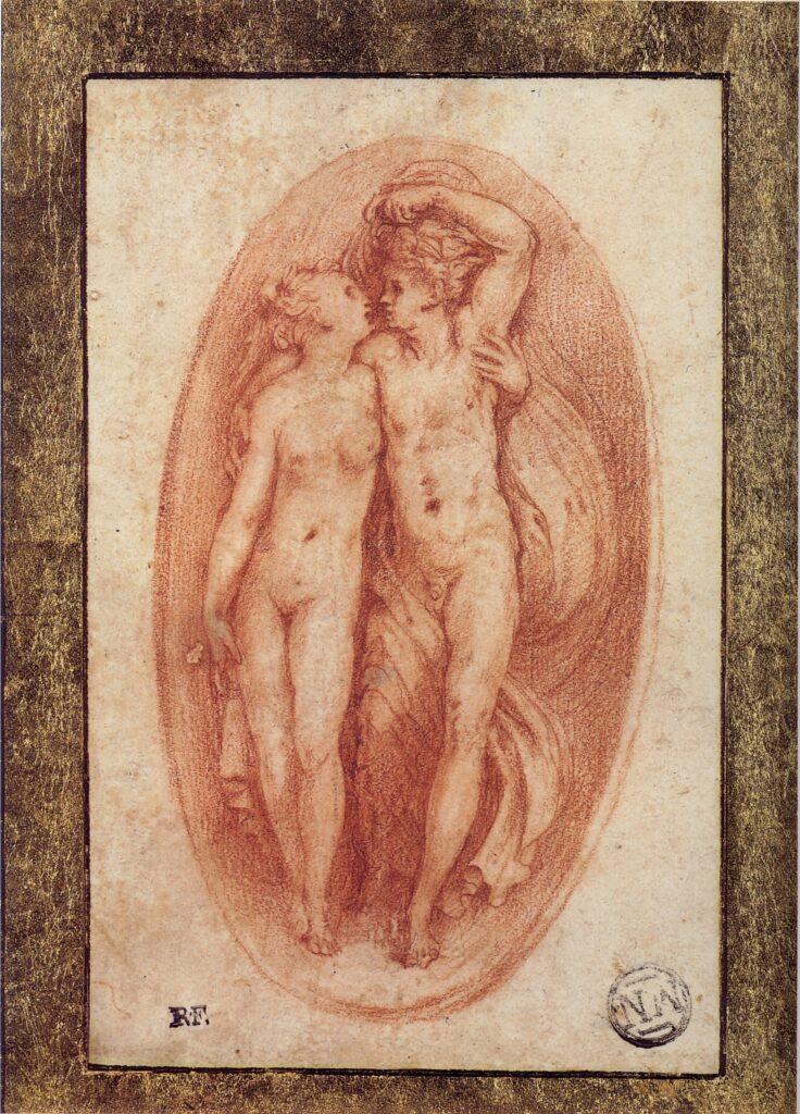 Perino del Vaga, Coppia mitologica, disegno sanguigna