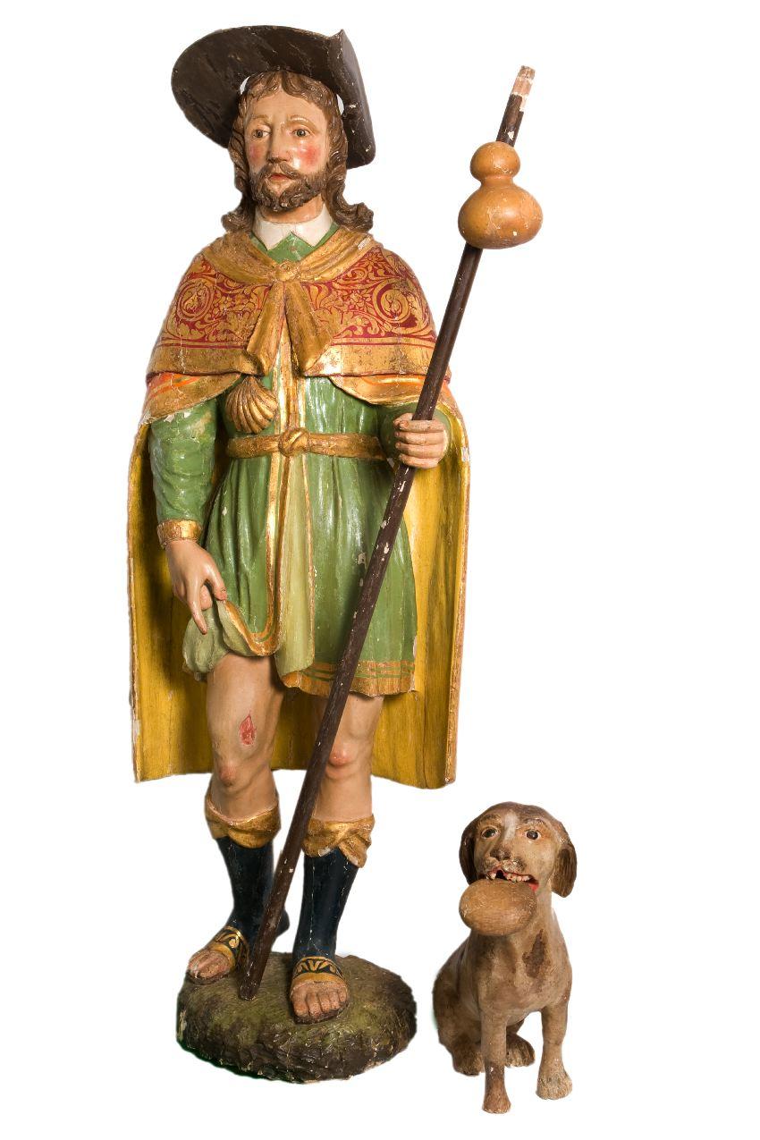 Anonimo intagliatore, San Rocco con cane, legno, XVIII secolo, 133 com, Vegna