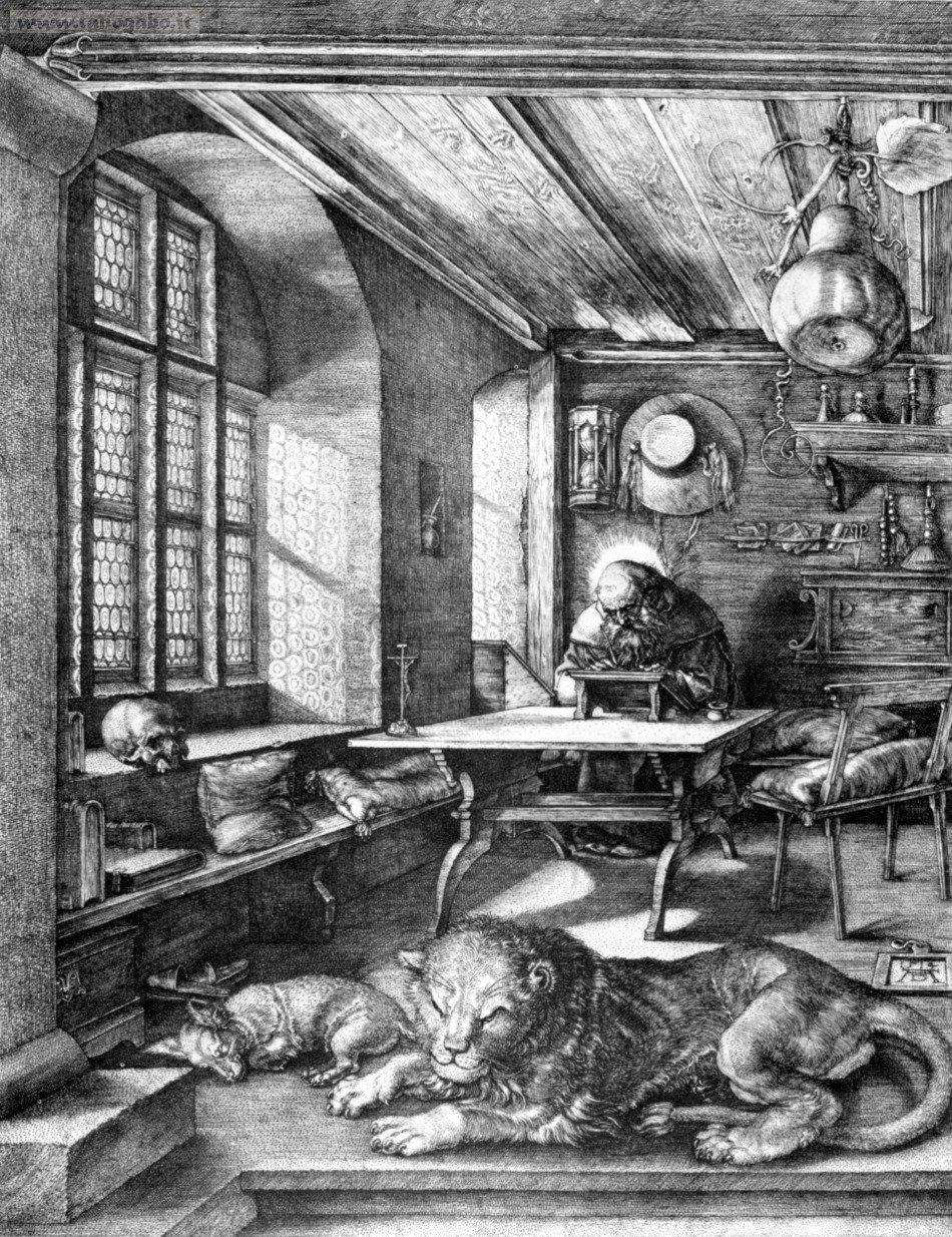 Albrecht Durer, San Girolamo nello studio, incisione, 1514