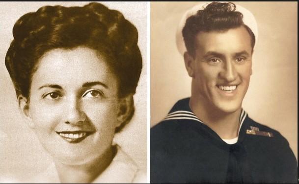Edith, in quei giorni, accanto a uno dei marinai che potrebbero essere protagonisti del bacio