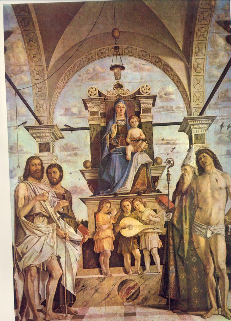 Bartolomeo Montagna, Madonna col Bambino in trono tra i santi Giovanni Battista, Bartolomeo, Agostino e Sebastiano