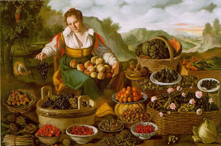 Vincenzo Campi, Fruttivendola. Il quadro pone in massima evidenza, nel punto superiore dell'esposizione, il cesto di zucche, una delle quale è tagliata per mostrarne l'interno ricco di semi.E' l'unica verdura ad essere mostrata anche al suo interno