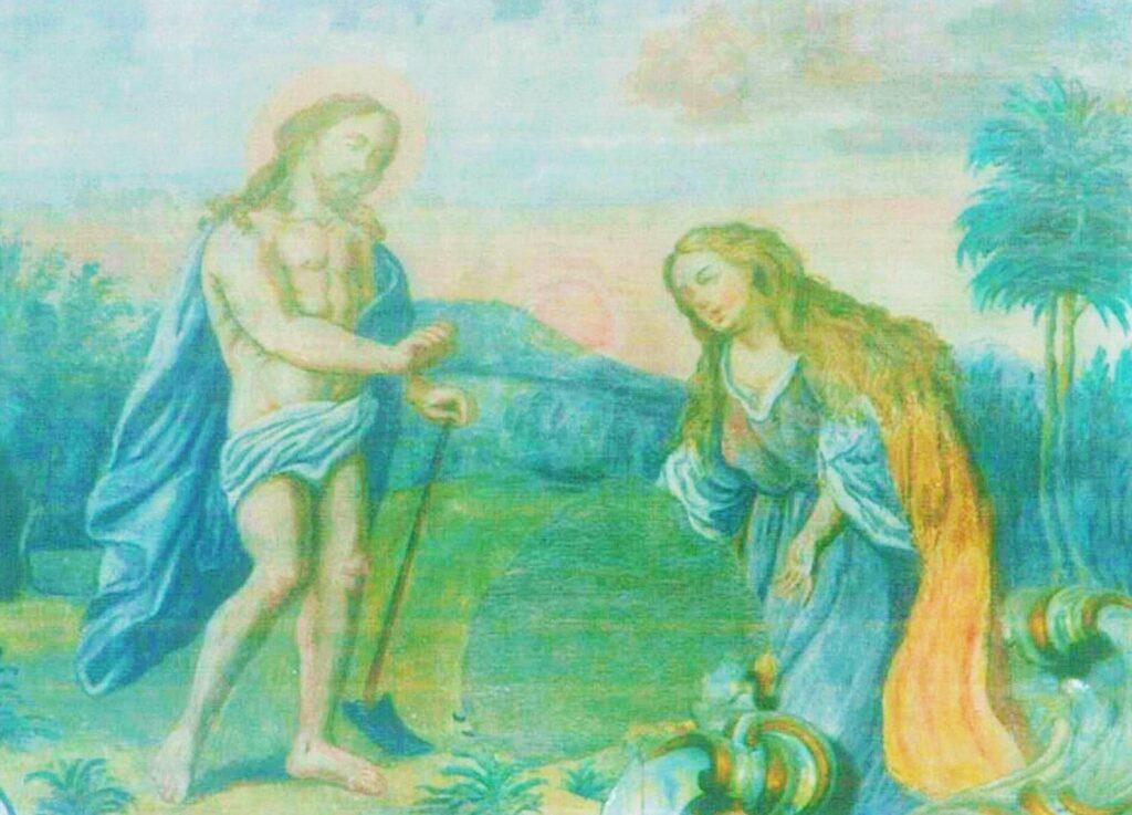 Pierre-Auguste Renoir (?), Noli me tangere, ridipintura a tempera su affresco sottostante, Capistrano, Chiesa parrocchiale
