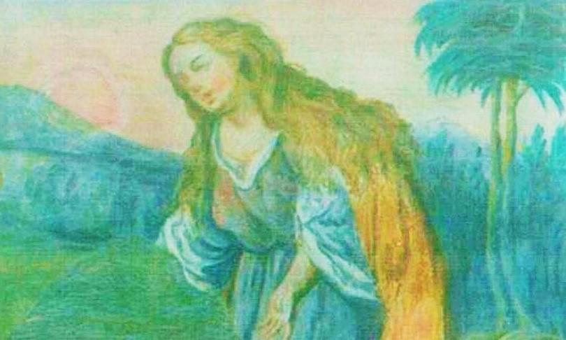 Pierre-Auguste Renoir (?), Noli me tangere, (particolare, Maddalena) ridipintura a tempera su affresco sottostante, Capistrano, Chiesa parrocchiale