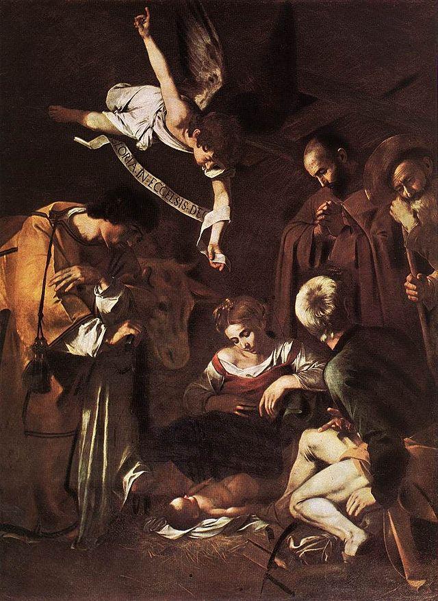Michelangelo Merisi, detto il Caravaggio, Natività con i Santi Lorenzo e Francesco, cm 268x197, olio su tela,  ubicazione sconosciuta dopo furto