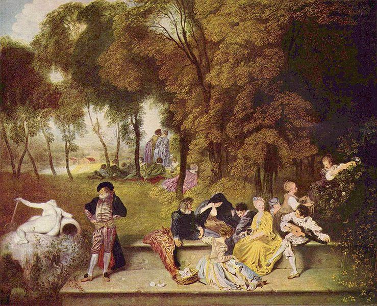 Watteau,-Convegno all'aria aperta,1717-18, cm 60 x 75, Dresda