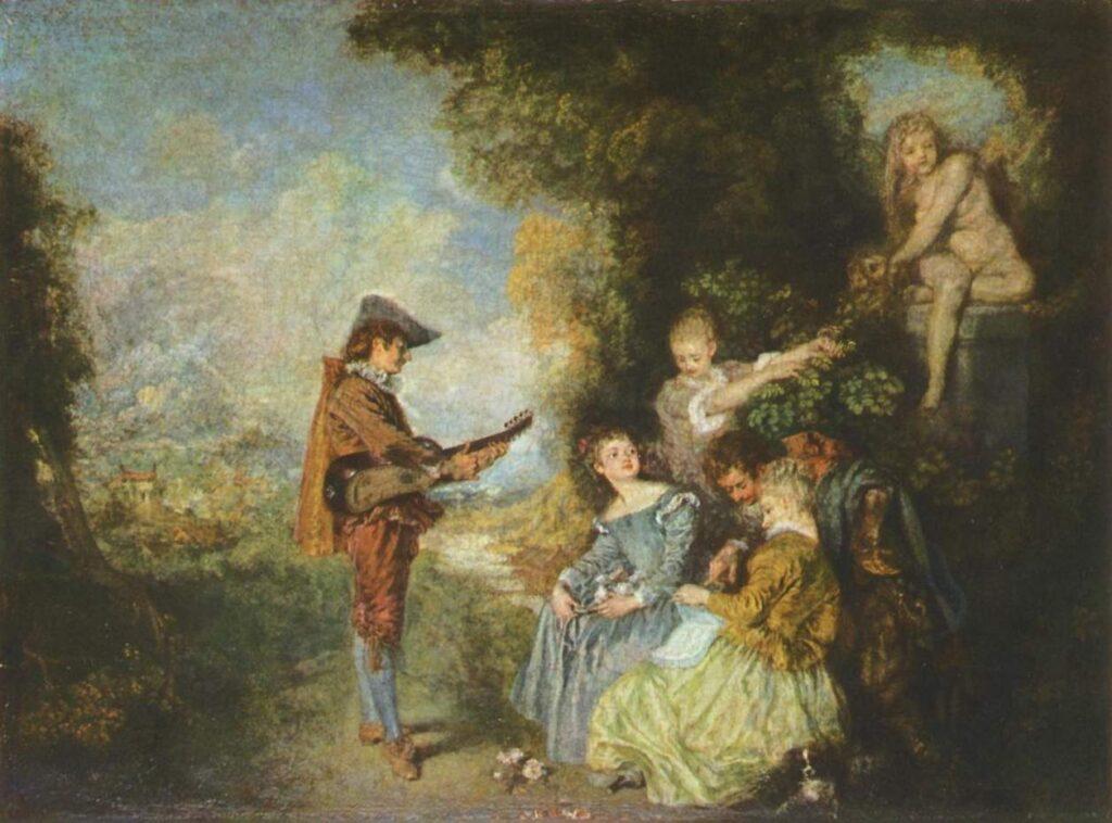 Watteau, La lezione d'amore, 1716.17 ca, olio su tavola, cm 43,8 x 60,9, Stoccolma