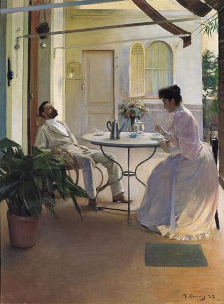 Ramon Casas Scena domestica all'aperto, 1892 Olio su tela, cm 161 x 121  Madrid, Colección Carmen Thyssen-Bornemisza