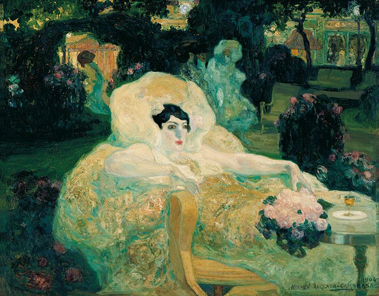 Hermenegildo Anglada Camarasa Il pavone bianco, 1904 Olio su tela, cm 78,5 x 99,5  Madrid, Colección Carmen Thyssen-Bornemisza