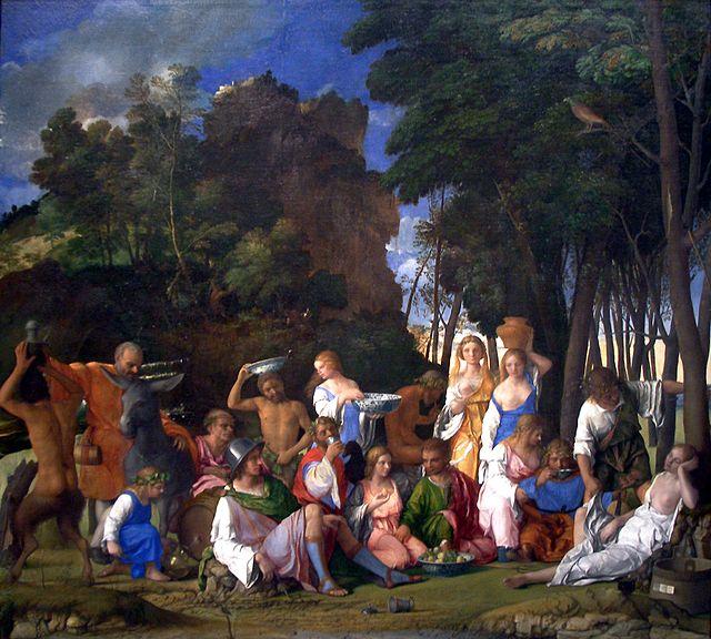 Giovanni Bellini con Tiziano e Dosso Dossi, Festino degli dei, 1514,  olio su tela, 170x188 cm, National Gallery of Art di Washington. Firmato e datato: «IOANNES BELLINVS VENETVS P[inxit] MDXIIII», sul cartiglio appeso al tino di legno, in basso a destra