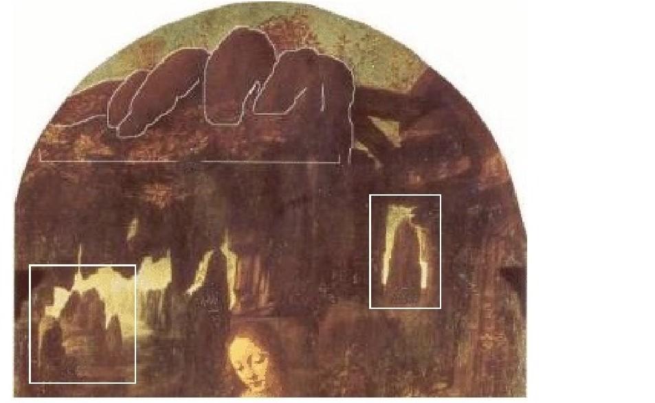 Leonardo da Vinci, Vergine delle rocce, 1483-1486, (particolare con evidenziazione funzione semantica delle rocce) olio su tavola trasportato su tela, 199x122 cm., Parigi, Museo del Louvre