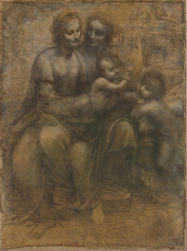 Leonardo da Vinci, Cartone di sant'Anna (Sant'Anna, la Madonna, il Bambino e san Giovannino) , 1501-1505 circa, disegno a gessetto nero, biacca e sfumino su carta, 141,5x104,6 cm., di Leonardo da Vinci, databile al 1501-1505, Londra National Gallery