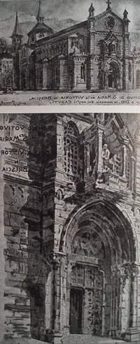 Disegni acquerellati di Premoli allegati alla progettazione di Santa Maria della Vittoria, a Brescia (1919)