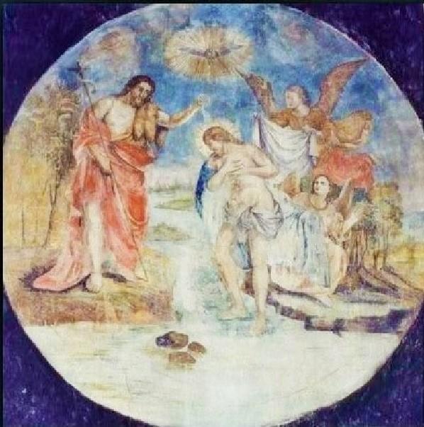 Pierre-Auguste Renoir (?), Il battesimo di Cristo, ridipintura a tempera su affresco sottostante, Capistrano, Chiesa parrocchiale