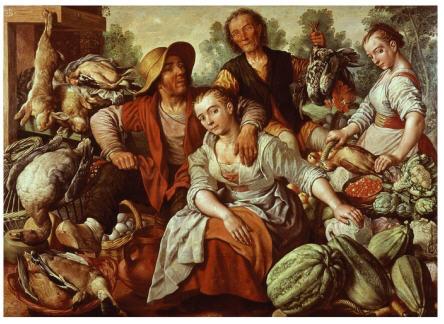 Joachim Bueckelaer, Mercato in campagna. L'uomo, che si accinge a toccare il seno alla fruttivendola è un venditore di selvaggina. In primo piano, la zucca della prosperità. Il pittore rende, in questo modo la natura sanguigna del maschio e la natura linfatica della donna