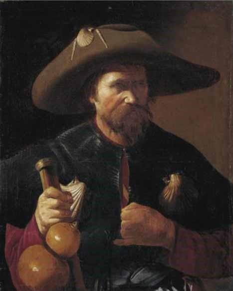 George de La Tour (1593-1652), San Giacomo Maggiore. Il santo è rappresentato come i pellegrini che si recavano al suo sepolcro a Santiago di Compostela: il bordone per il viaggio alquale è aasicurata la fiaschetta di zucca, l'ampio cappello sul quale è cucita una vala della capasanta o pecten jacobeus, La conchiglia era la prova che i pellegrini erano recati a Compostela e nella sua regione. La capasanta, in alcuni casi usata per il battesimo, costituiva anche un documento di esenzione dei pedaggi, riservata ai pellegerini