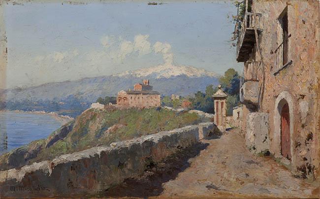 Mario Mirabella Taormina. Veduta di San Domenico 1898-1910 ca olio su tela Collezione Antonello Governale, Palermo