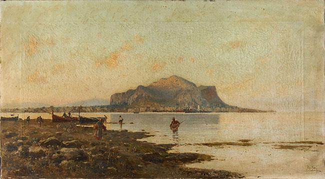 Michele Catti Golfo di Palermo 1890 ca olio su tela Collezione privata, Palermo