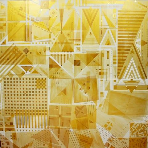 Roberto Bergonzo, Kaleidos, acrilico e oro su tela, cm.190x190