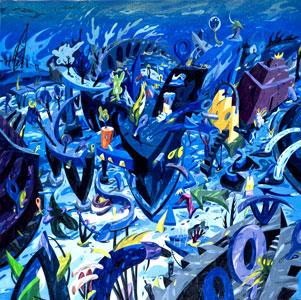 Roberto Bergonzo, Territorio blu, olio su tela, cm. 100x100