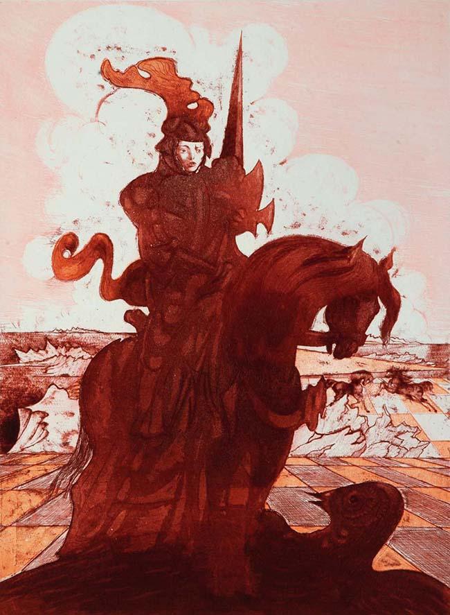 Aligi Sassu: Bradamante, 1974, acquaforte e acquatinta a tre colori