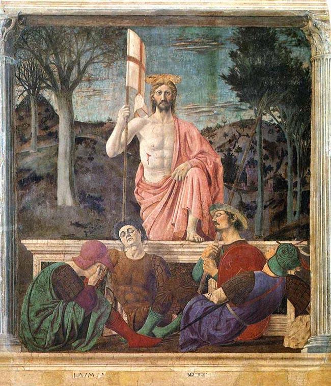 Piero della Francesca: La Resurrezione ; affresco eseguito tra il 1450 e 1463; cm. 225x200