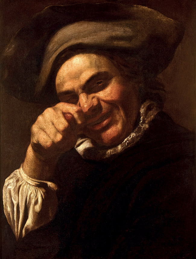 Anonimo, cerchia di / Anonyme, cercle de Bartolomeo Manfredi, Bravo che fa un gesto volgare / Homme faisant le geste de la fica, c. 1615-1625, olio su tela / huile sur toile, Museo nazionale di Palazzo Mansi, Lucca
