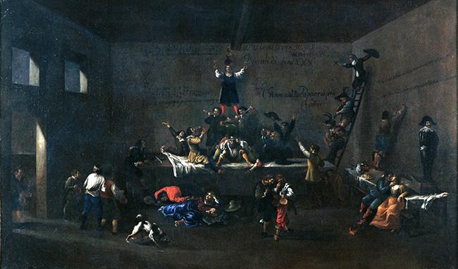 Roeland van Laer, Bentvueghels in un' osteria romana / Bentvueghels dans une taverne romaine, 1626-1628, olio su tela / huile sur toile, Museo di Roma – Palazzo Braschi