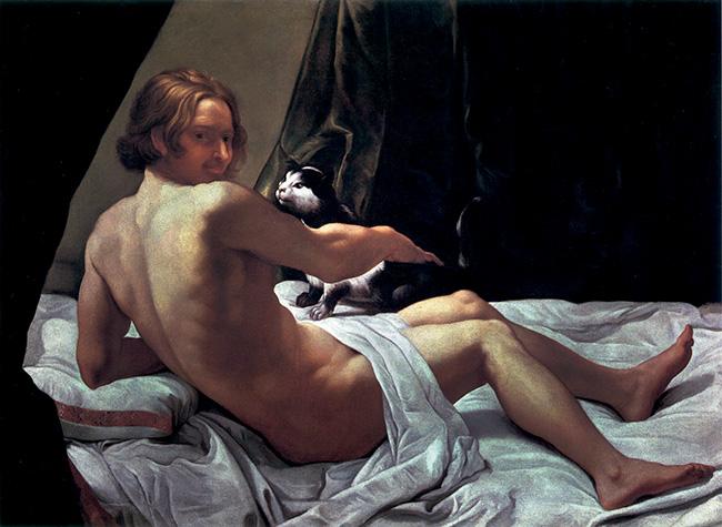Giovanni Lanfranco, Giovane nudo sul letto con un gatto / Jeune homme nu au chat sur un lit, 1620-1622, olio su tela / huile sur toile, collezione privata / collection particulière