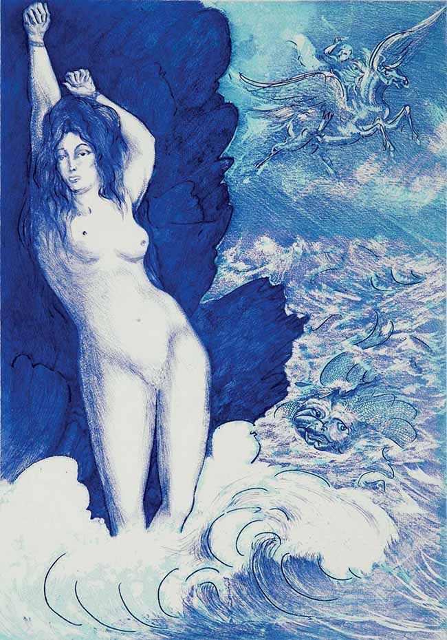 Aligi Sassu: Angelica, 1974, acquaforte e acquatinta a due colori, 471 × 330mm (parte incisa)