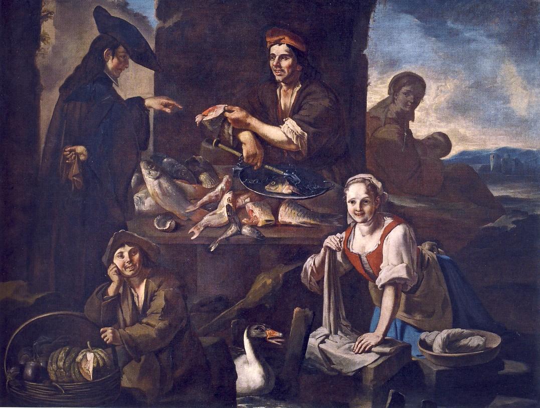 GIACOMO FRANCESCO CIPPER detto il TODESCHINI, Il mercato, 1705-1710 ca., olio su tela, cm 176 x 235,5, Brescia, Pinacoteca Tosio Martinengo