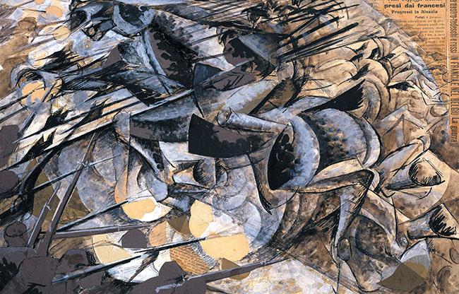 """Umberto Boccioni, """"Carica di lancieri"""", 1915, tempera e collage su carta, 32x50 cm. L'opera è presente alla mostra """"Alice nel castello delle meraviglie"""" allo Sforzesco di Milano"""