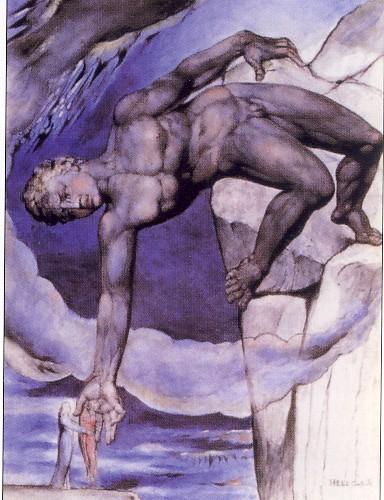 W.BLAKE, Anteo depone a terra Dante e Virgilio, acquerello, 1824-1827